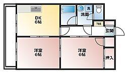 メゾン・ドゥ・ヴァン上赤江[406号室]の間取り
