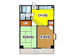 東京都府中市緑町1丁目の賃貸マンションの間取り