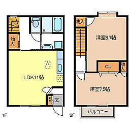[タウンハウス] 長野県長野市稲田3丁目 の賃貸【/】の間取り