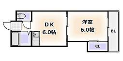 大阪府大阪市浪速区敷津西2丁目の賃貸マンションの間取り