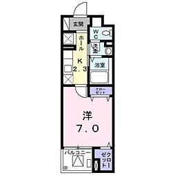 埼玉新都市交通 加茂宮駅 徒歩5分の賃貸マンション 2階1Kの間取り