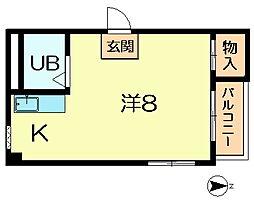 奈良県奈良市富雄元町2丁目の賃貸マンションの間取り