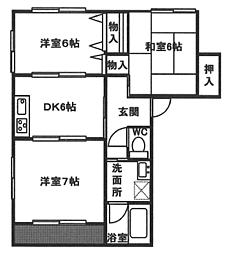 JR山陽本線 西明石駅 バス17分 玉津インター前下車 徒歩10分の賃貸アパート 1階3DKの間取り