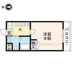 阪急京都本線 西京極駅 徒歩18分の賃貸マンション 4階1Kの間取り