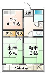 滋賀県大津市雄琴5丁目の賃貸マンションの間取り