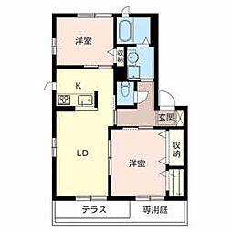 ディオ鶴田[1階]の間取り
