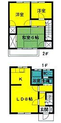 [テラスハウス] 東京都あきる野市伊奈 の賃貸【東京都 / あきる野市】の間取り