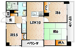 福岡県北九州市小倉南区徳力1丁目の賃貸マンションの間取り