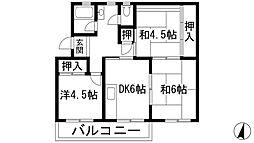 大阪府箕面市如意谷3丁目の賃貸マンションの間取り