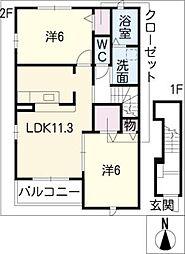 愛知県東海市名和町堂ノ前の賃貸アパートの間取り