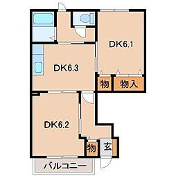 和歌山県和歌山市有家の賃貸アパートの間取り