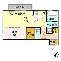 (仮)D-room寺尾台[B202号室]の間取り