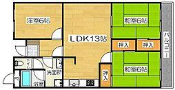 大阪府茨木市沢良宜西2丁目の賃貸マンションの間取り