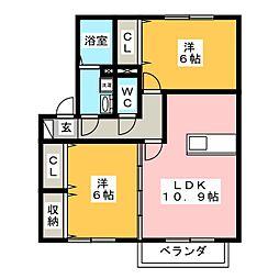 ヴィラ中島II[2階]の間取り