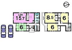 南向きバルコニー、全室6帖以上のゆとりある間取りです。並列で駐車2台可能分譲地内ですので車通りも少なく、静かな環境です。