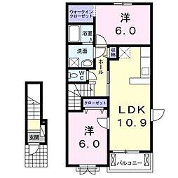 愛知県岡崎市大平町字西上野の賃貸アパートの間取り