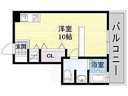 阪急京都本線 上新庄駅 徒歩7分の賃貸アパート 2階1Kの間取り