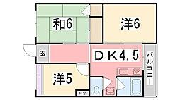 兵庫県姫路市辻井1丁目の賃貸マンションの間取り