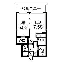 癒禅32 4階1LDKの間取り