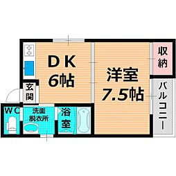 Osaka Metro谷町線 太子橋今市駅 徒歩3分の賃貸マンション 3階1DKの間取り