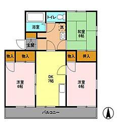 大崎台グリーンタウン6AB[1階]の間取り