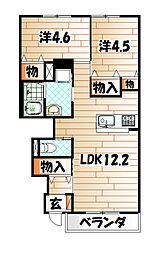 福岡県遠賀郡水巻町猪熊9丁目の賃貸アパートの間取り