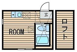 神奈川県横浜市鶴見区向井町3の賃貸アパートの間取り