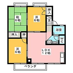 愛知県岡崎市竜美南4丁目の賃貸アパートの間取り