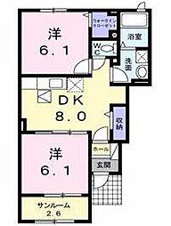 佐賀県三養基郡基山町大字園部の賃貸アパートの間取り