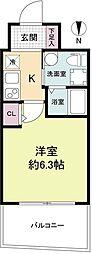 セレニテ江坂ルフレ 4階1Kの間取り