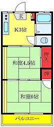 JR埼京線 十条駅 徒歩13分の賃貸アパート 2階2Kの間取り