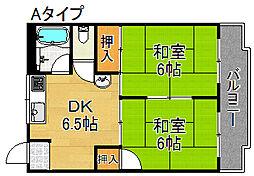 帝塚山スカイマンション[3階]の間取り