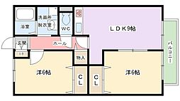 大阪府寝屋川市境橋町の賃貸アパートの間取り