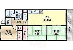 JR東海道・山陽本線 岸辺駅 徒歩17分の賃貸マンション 3階3LDKの間取り