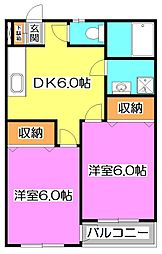 東京都練馬区石神井町7丁目の賃貸マンションの間取り