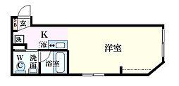 JR可部線 安芸長束駅 徒歩12分の賃貸アパート 2階ワンルームの間取り