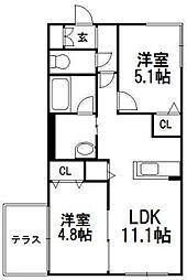 北海道札幌市豊平区美園三条1の賃貸マンションの間取り