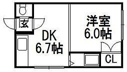 第6森宅建菊水ビル[203号室]の間取り