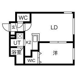 札幌市電2系統 西線6条駅 徒歩4分の賃貸マンション 1階1LDKの間取り