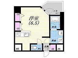阪神本線 西宮駅 徒歩4分の賃貸マンション 5階ワンルームの間取り