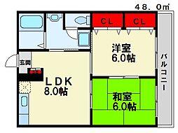 サンハイム三宅[3階]の間取り