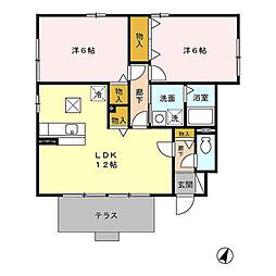 ローズコート庵[1階]の間取り