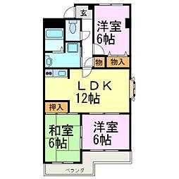 愛知県知多郡武豊町字豊成2丁目の賃貸アパートの間取り