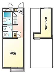兵庫県姫路市上大野2丁目の賃貸アパートの間取り