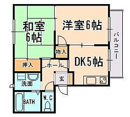 兵庫県宝塚市山本東2丁目の賃貸アパートの間取り