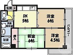 コーエイエステート 4階3DKの間取り