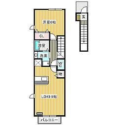 愛知県名古屋市中川区四女子町3丁目の賃貸アパートの間取り