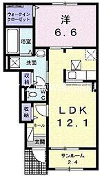 JR赤穂線 大多羅駅 徒歩16分の賃貸アパート 1階1LDKの間取り