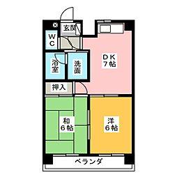 レインボー青柳[2階]の間取り