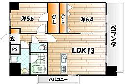デザイナープリンセス中津口[12階]の間取り